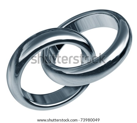 Wedding rings linked together representing the concept of eternal love and the start of a new life and relationship. - stock photo