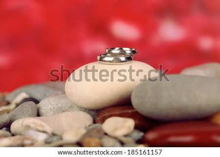 Wedding rings on rocks on red background - stock photo