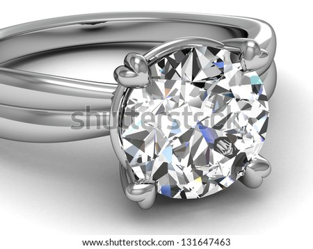 wedding rings on white background. - stock photo