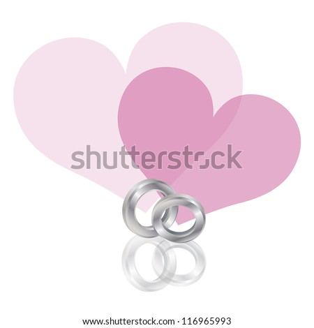 Wedding Rings Platinum Band with Couple Pink Hearts Isolated on White Background Raster Vector Illustration - stock photo
