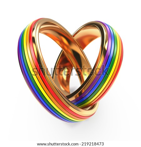 Wedding Rings with Gay Symbols  Isolated on White. - stock photo