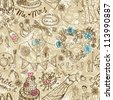 Wedding seamless pattern with doodles, illustration - stock photo
