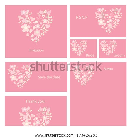 Wedding set in pink tones. Invitation, thank you card, save the date, rsvp cards. - stock photo