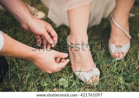 wedding shoe - stock photo