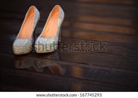 wedding shoes - stock photo