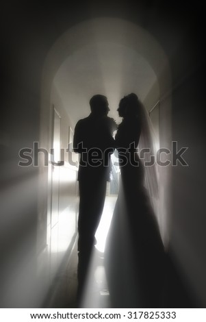 Wedding shot of bride and groom kissing against light - stock photo