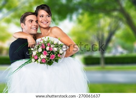 Wedding. Smiling wedding couple - stock photo
