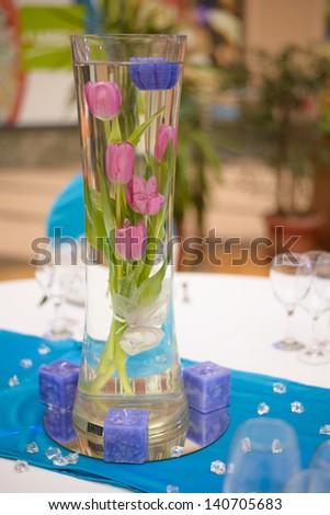 Wedding table decoration vase - stock photo