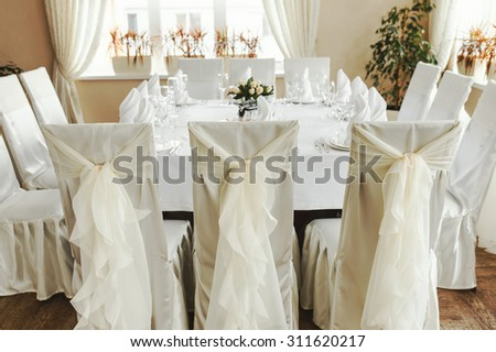 Wedding table set, Everything  ready.  - stock photo