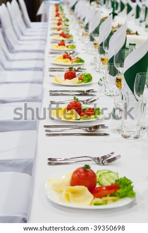 wedding table settings with appetizer - stock photo