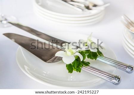 wedding table setup outdoor - stock photo