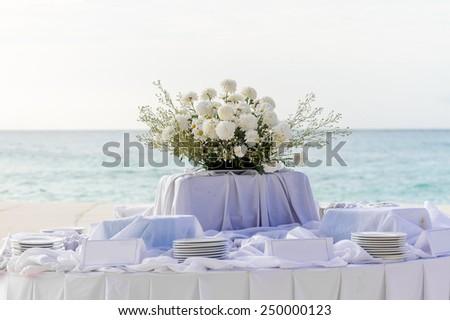 wedding table setup, outdoor wedding decoration - stock photo