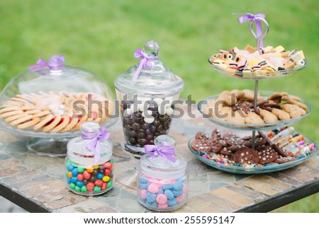 wedding table with candies  - stock photo