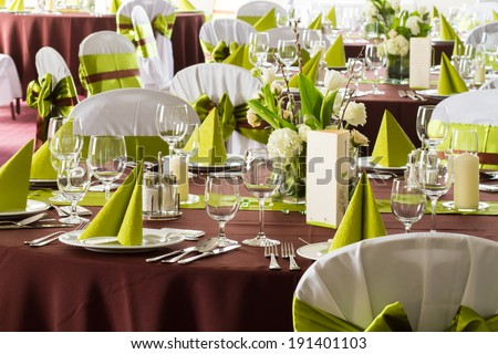 wedding table with decoration - stock photo
