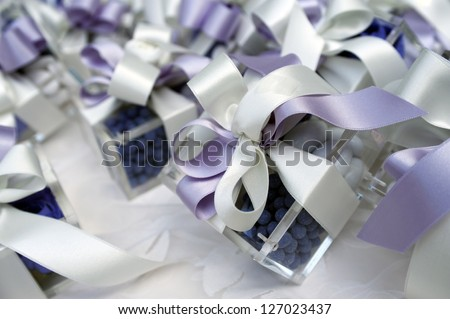 wedding table with favors and present - stock photo