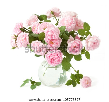 Wedding tea roses bunch in vase isolated on white background - stock photo