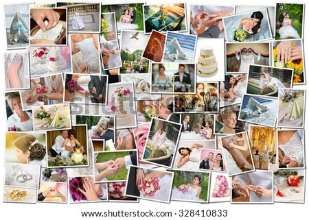 Wedding theme collage composed of different images - All photos shown in the collage are in my portfolio in high resolution - stock photo