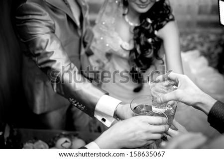 wedding theme, the bride and groom. Happy young newlyweds on wedding day. Wedding couple - new family! wedding dress. Bridal wedding bouquet of flowers. - stock photo