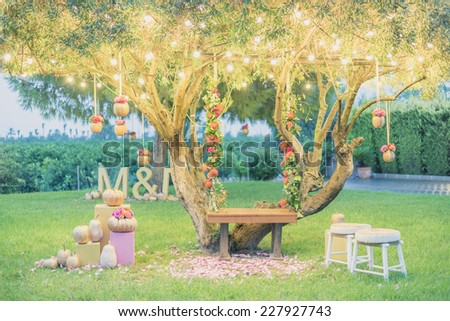 wedding tree with a swing - stock photo