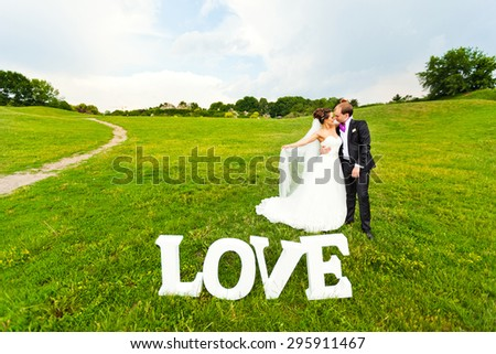 Wedding. Walking bride and groom in wedding day in nature. Beautiful wedding couple is enjoying wedding. Groom and Bride in a park. - stock photo