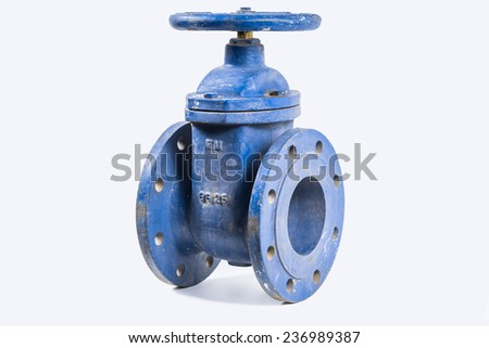 Wedge gate valve on a white background - stock photo