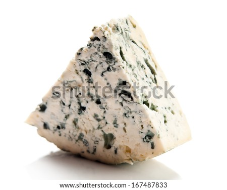 Wedge of gourmet cheese on white background - stock photo
