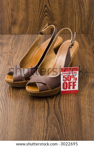 wedges shoe in shop sale - stock photo