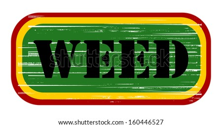weed grunge stamp design - stock photo