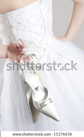 weeding dress and shoes - stock photo
