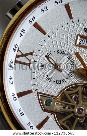 Weekend. Saturday. Detail of the luxury clock - stock photo