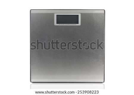Weighing apparatus electric machine isolated on white background. - stock photo