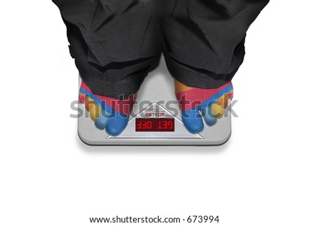 Weighing Scales says: GET OFF - stock photo