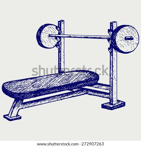 Weight bench for chest flat. Doodle style. Raster version - stock photo