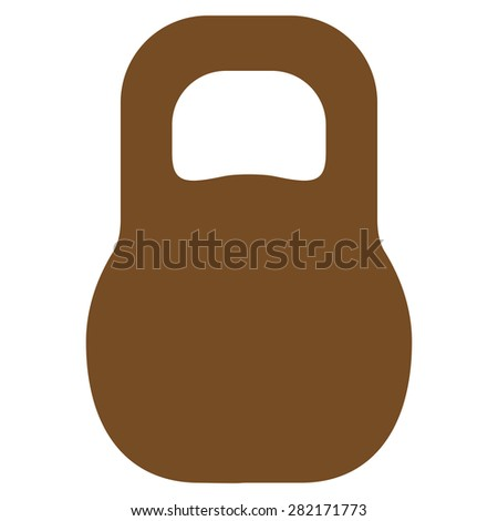 Weight icon from Basic Plain Icon Set. Style: flat symbol icon, brown color, rounded angles, white background. - stock photo