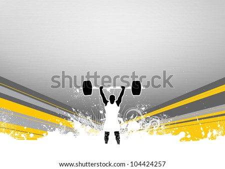 Weight lifter background with space (poster, web, leaflet, magazine) - stock photo