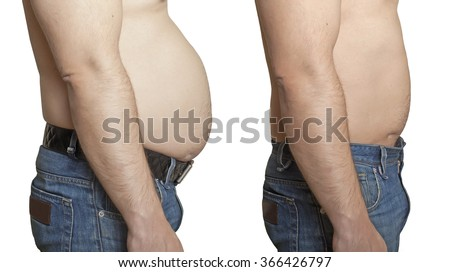 Weight loss. A man with a large and a small stomach. - stock photo