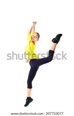 Weight loss fitness woman jumping of joy. Young sporty Caucasian female model isolated on white background in full body - stock photo