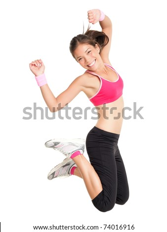 Weight loss fitness woman jumping of joy. Young sporty fit mixed race Asian / Caucasian female model isolated on white background in full body - stock photo