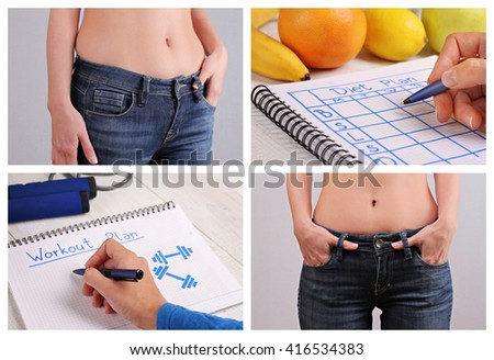 Weight loss results, dieting concept Collage.  Sport, Fitness, Motivation, Weight loss before and after, nutrition and workout plan - stock photo