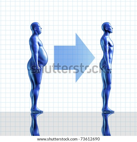 Weight loss symbol represented by an obese human and a fit man who has lost fat and burned calories. - stock photo