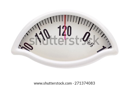 Weight scale on white background with clipping path - stock photo