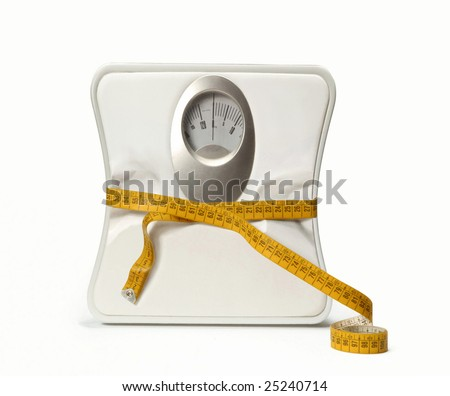 Weight scale with a measuring tape. Bathroom Scale with a measuring tape. - stock photo