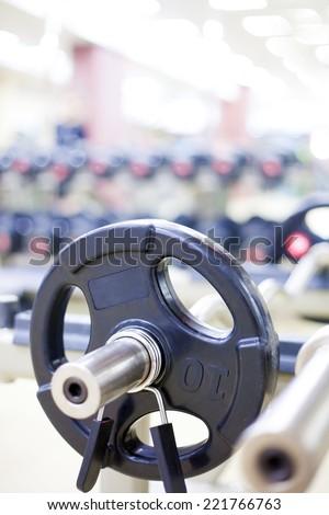 Weight Training Equipment in gym - stock photo