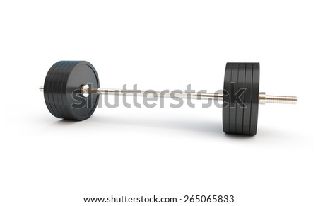weightlifting on white background - stock photo