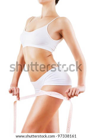 weightloss after diet on white background - stock photo