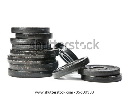 Weights, isolated on white background. - stock photo
