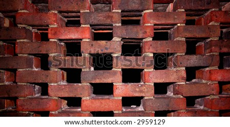 WEIRD BRICK WALL - stock photo