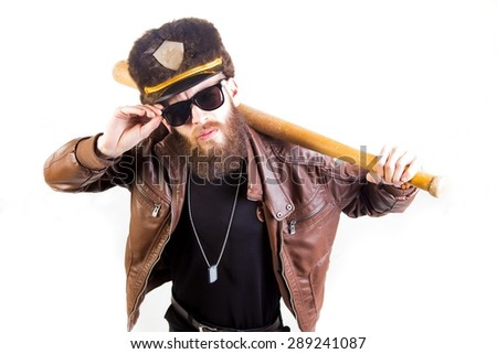 Weird cop with sunglasses holding a baseball bat on white background. - stock photo