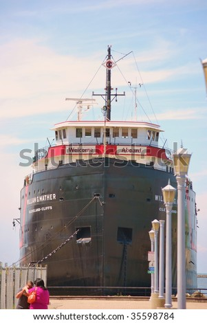 Welcome Aboard the William G Mather Cleveland Cliffs ship docked in Cleveland OH harbor - stock photo