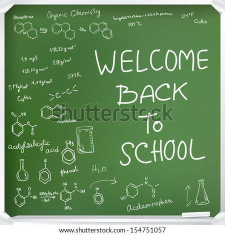 Welcome back to school background. Chemical formulas on green chalkboard. Vector copy exists - stock photo